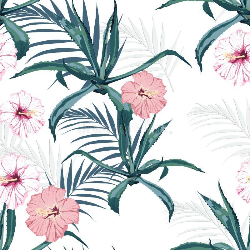 O fundo sem emenda floral do teste padrão do vetor bonito com agave, folhas de palmeira e o hibiscus exótico floresce ilustração royalty free