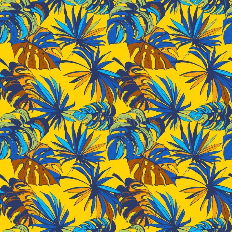 O fundo sem emenda floral Palm Beach do teste padrão da selva tropical sae ilustração do vetor