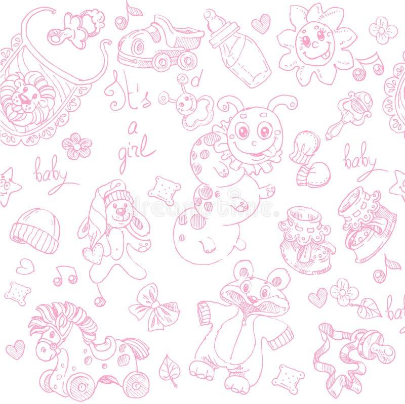 O fundo sem emenda seu uma menina com brinquedos doodle ilustração do vetor