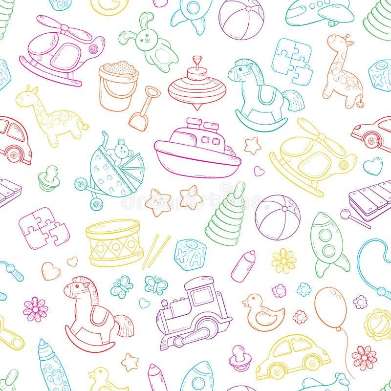 O fundo sem emenda, textura, contexto, teste padrão, papel de parede com garatuja dos desenhos animados das crianças brinca Jogos ilustração do vetor