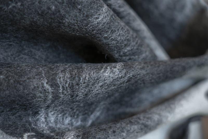 O fundo sentiu para drapejar decorativo cinzento preto, projeto, fotografia de stock royalty free