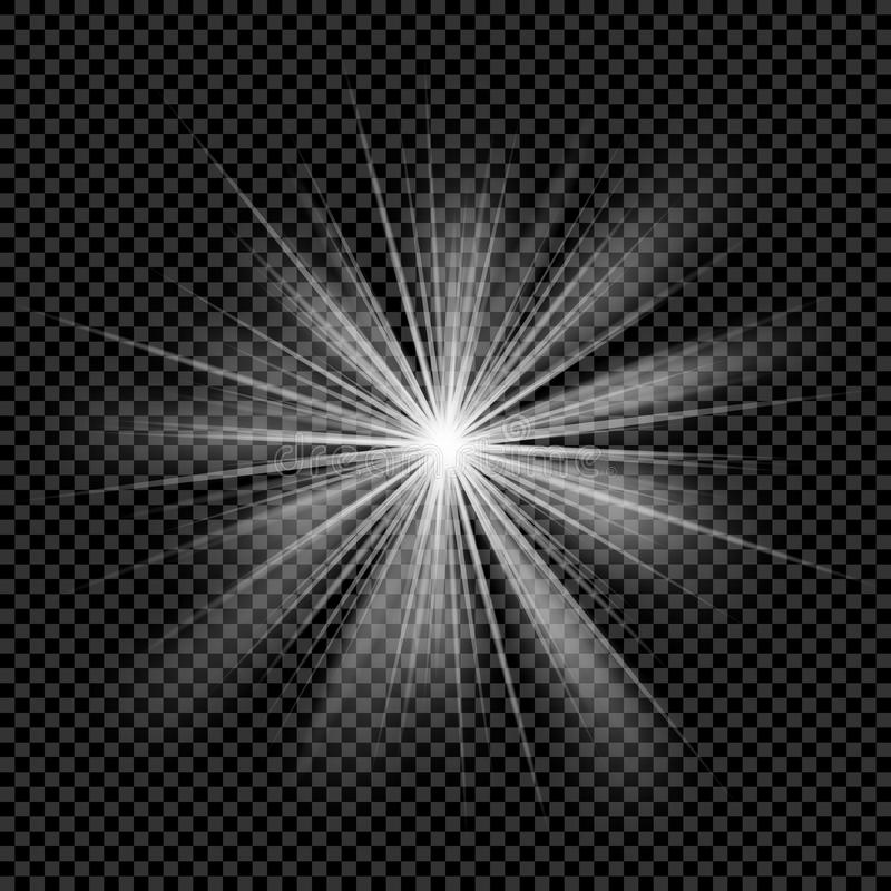 O fundo transparente claro de incandescência da luz solar do vetor da explosão com raio sparkles ilustração royalty free