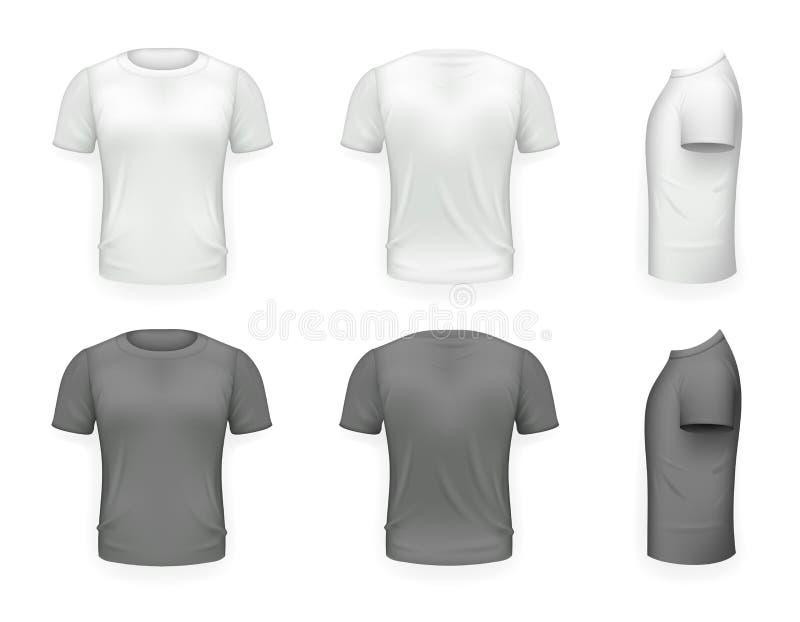 O fundo transparente do ícone realístico preto e branco do projeto 3d de Front Side Back View Template do t-shirt isolou o vetor ilustração royalty free