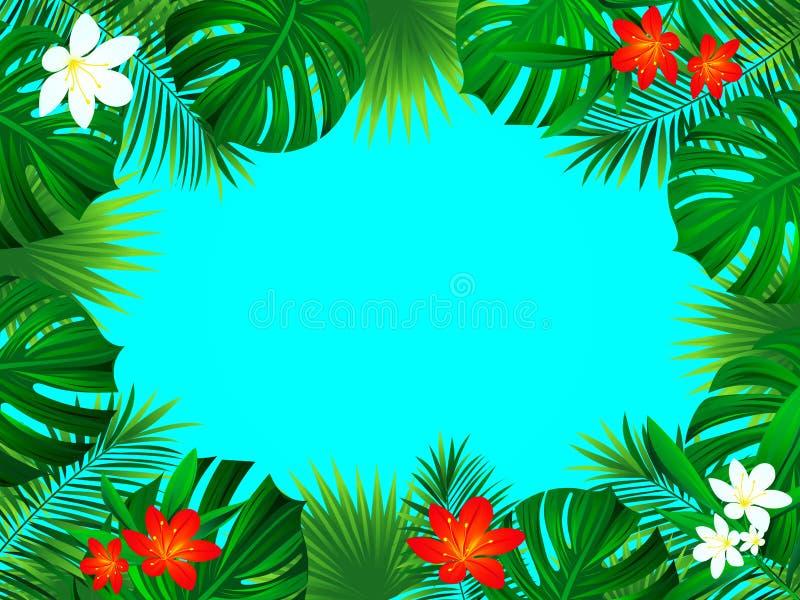 O fundo tropical com as palmas exóticas da floresta úmida da selva sae, monstera, flores Quadro horizontal da beira floral ilustração stock