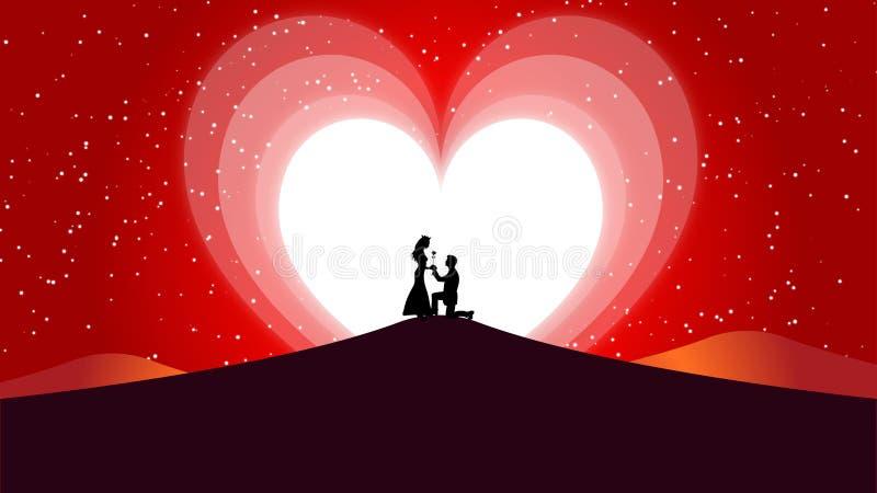 O fundo, o Valentim do amor e o coração abstratos do casamento Moon ilustração royalty free