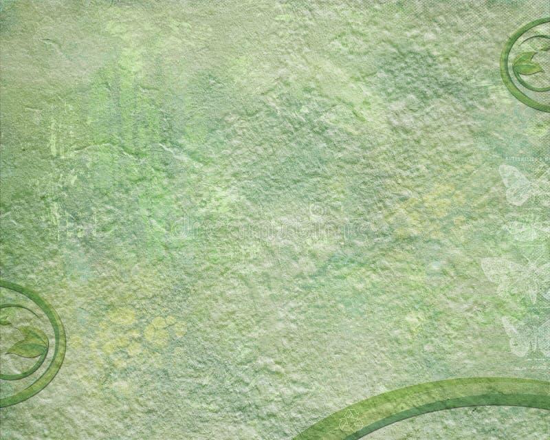 O fundo verde do grunge com folhas e recicla o símbolo imagem de stock