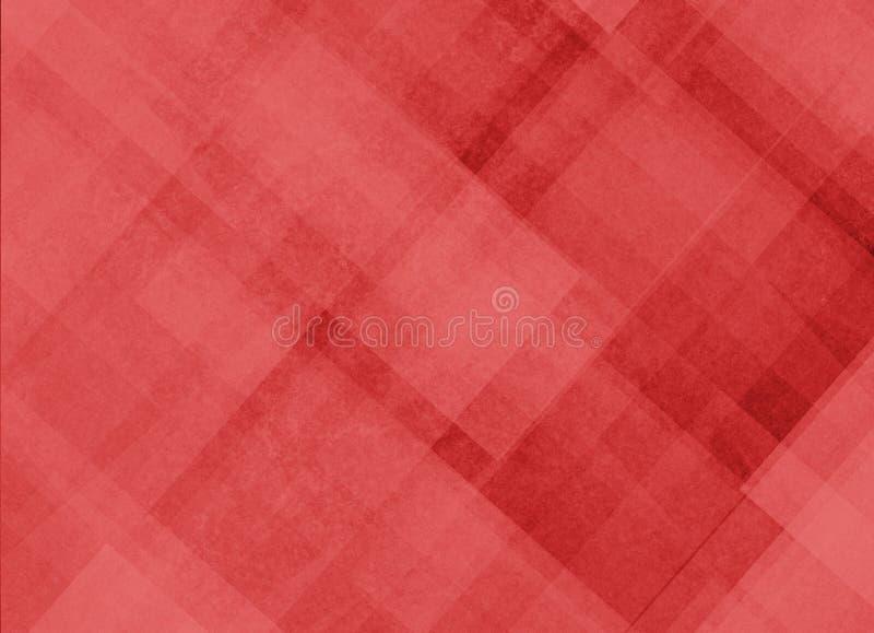 O fundo vermelho com linhas diagonais abstratas e o retângulo obstruem formas ilustração stock
