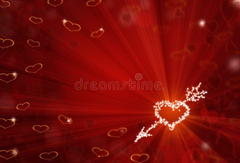 O fundo vermelho de StValentine com forma de brilho do coração stars ilustração do vetor