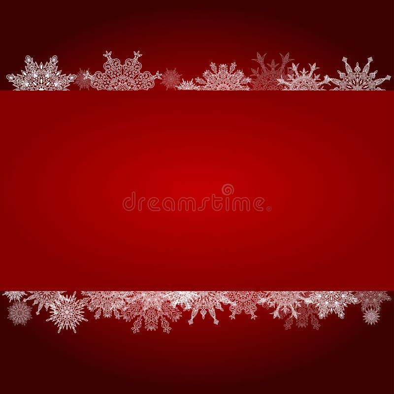 O fundo vermelho do inclinação do Natal com flocos de neve limpa o MI branco ilustração stock