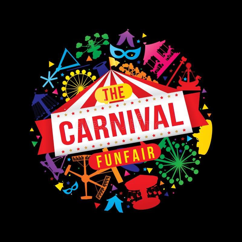 O funfair do carnaval ilustração royalty free