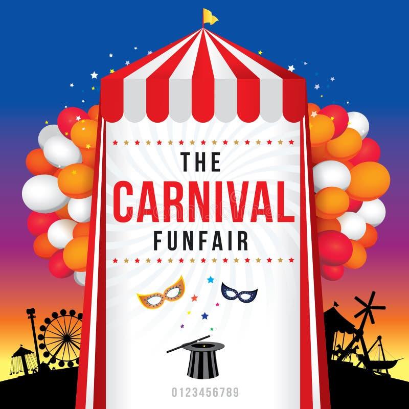 O funfair do carnaval e a mostra mágica ilustração stock