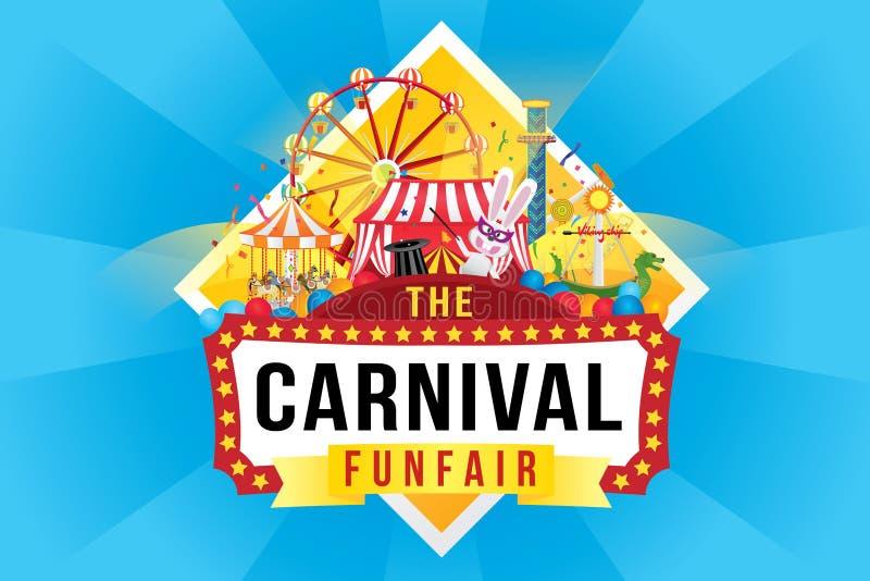 O funfair do carnaval e a mostra mágica ilustração do vetor