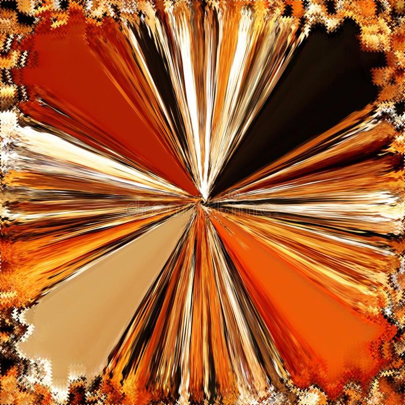 O funil abstrato deu forma ao fundo radial com feixes brilhantes na laranja, cores amarelas, brancas, pretas ilustração do vetor