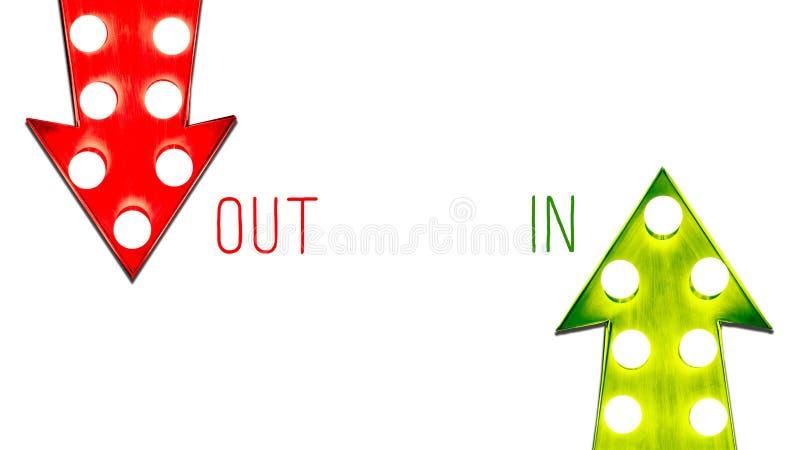 In o fuori da sinistra a destra rosso e verde su giù le retro frecce d'annata ha illuminato le lampadine Concetto per i vantaggi  illustrazione vettoriale