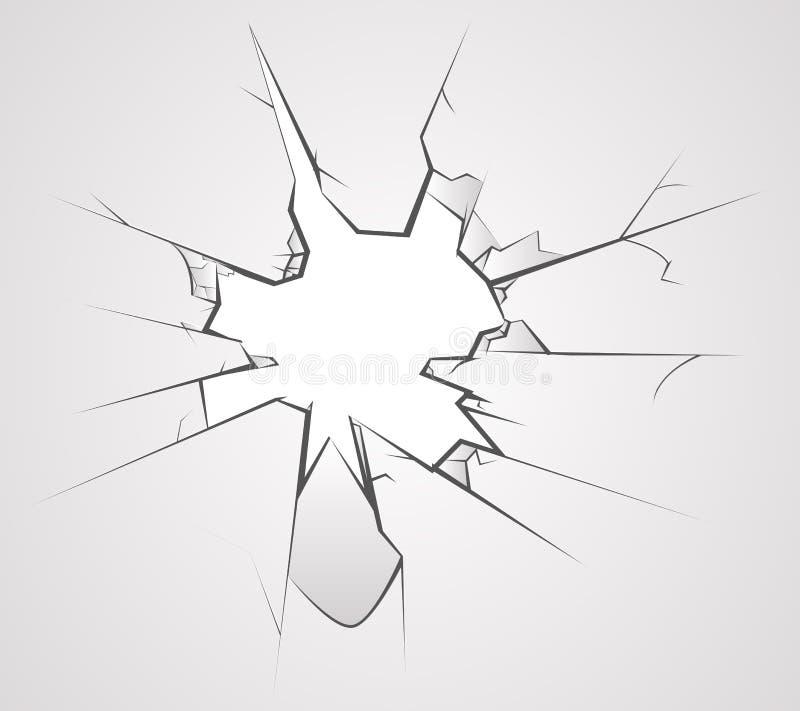 O furo de vidro quebrado racha a ilustração transperent do vetor do fundo ilustração stock