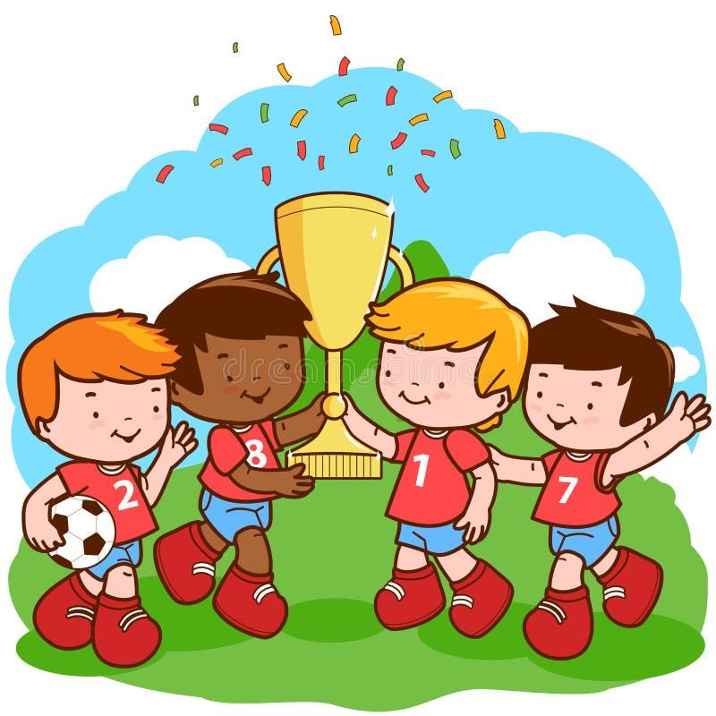 O futebol caçoa vencedores ilustração do vetor