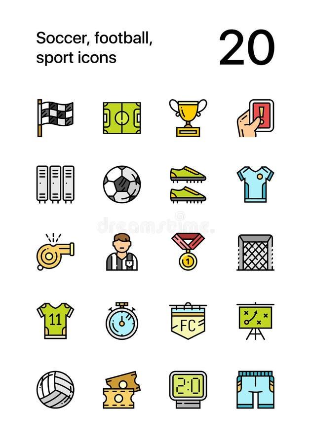 O futebol colorido, o futebol, os ícones do esporte para a Web e o projeto móvel embalam ilustração do vetor