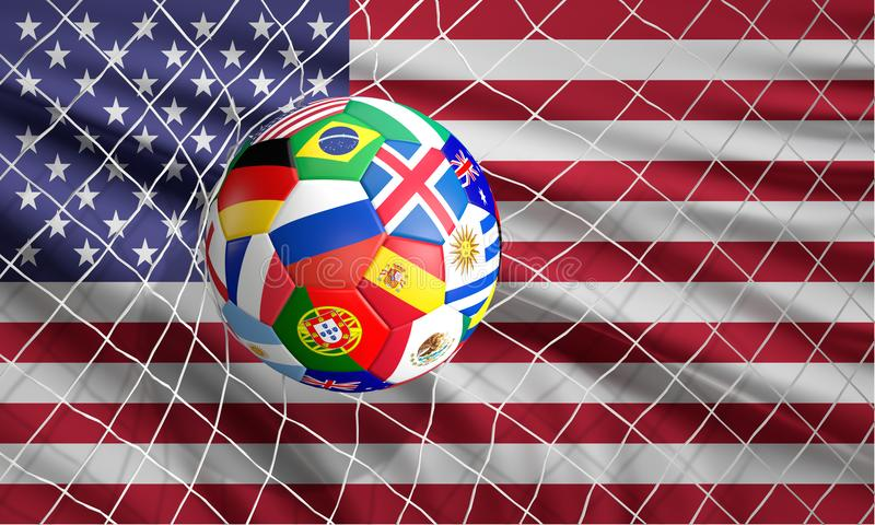 O futebol da bola do futebol do futebol disparou na ilustração do objetivo 3d ilustração do vetor