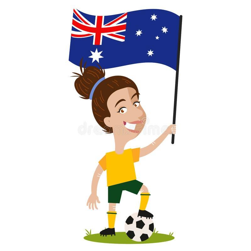 O futebol das mulheres, jogador fêmea para Austrália, mulher dos desenhos animados que guarda a bandeira australiana que veste a  ilustração royalty free