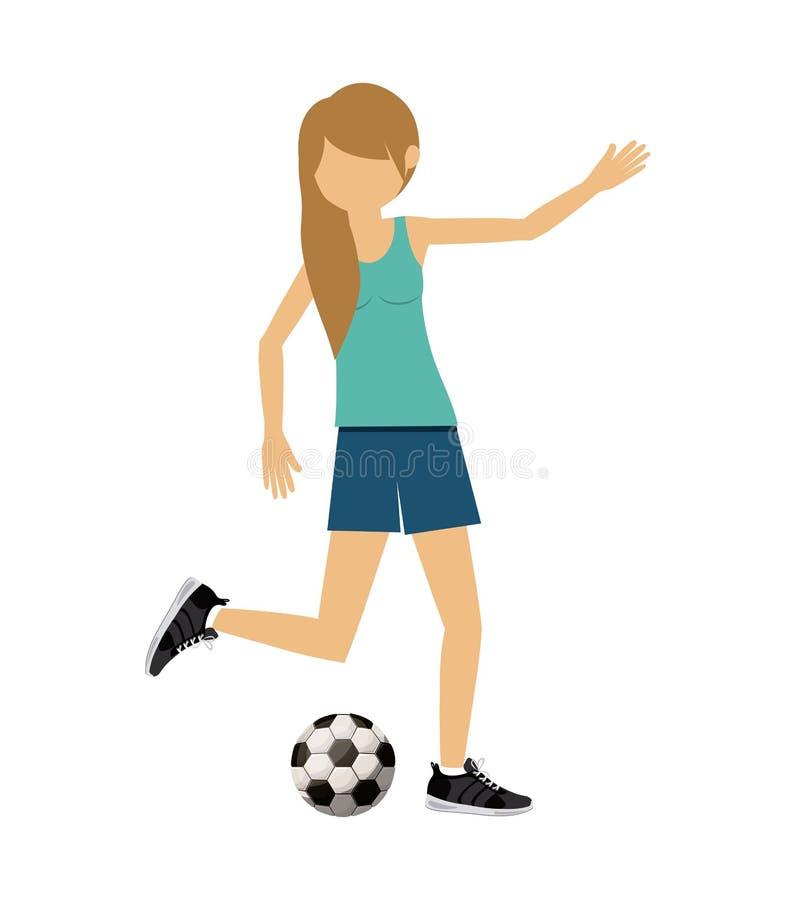 O futebol praticando do futebol do atleta fêmea isolou o projeto do ícone ilustração royalty free