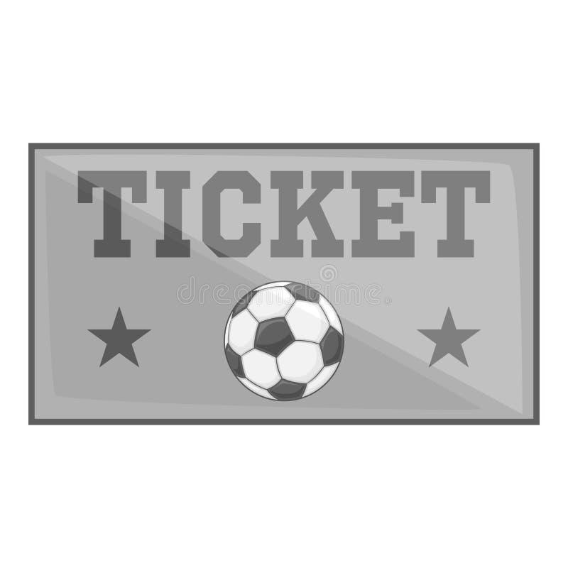 O futebol tickets o ícone, estilo do monochrome do preto ilustração stock