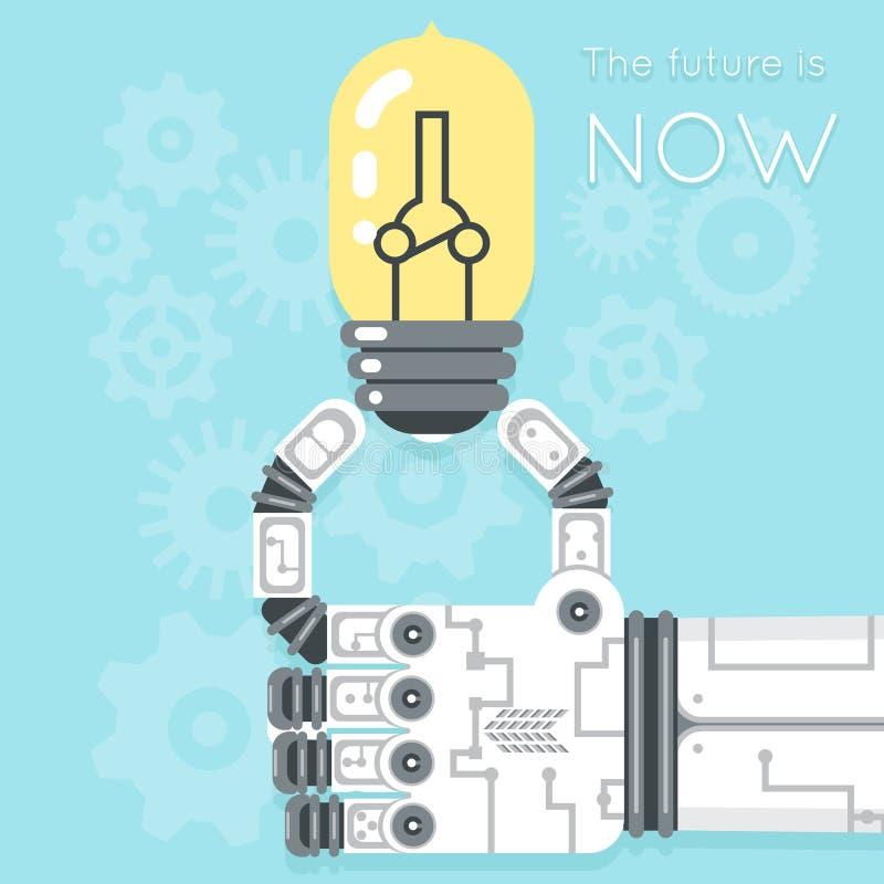 O futuro é agora Mão do robô que guarda a ampola ilustração do vetor