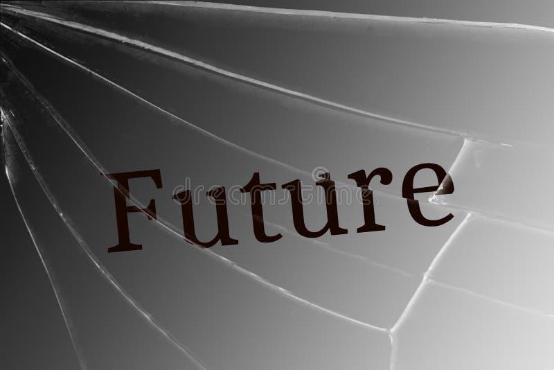 O futuro do texto no vidro quebrado Conceito de perder o futuro ilustração royalty free