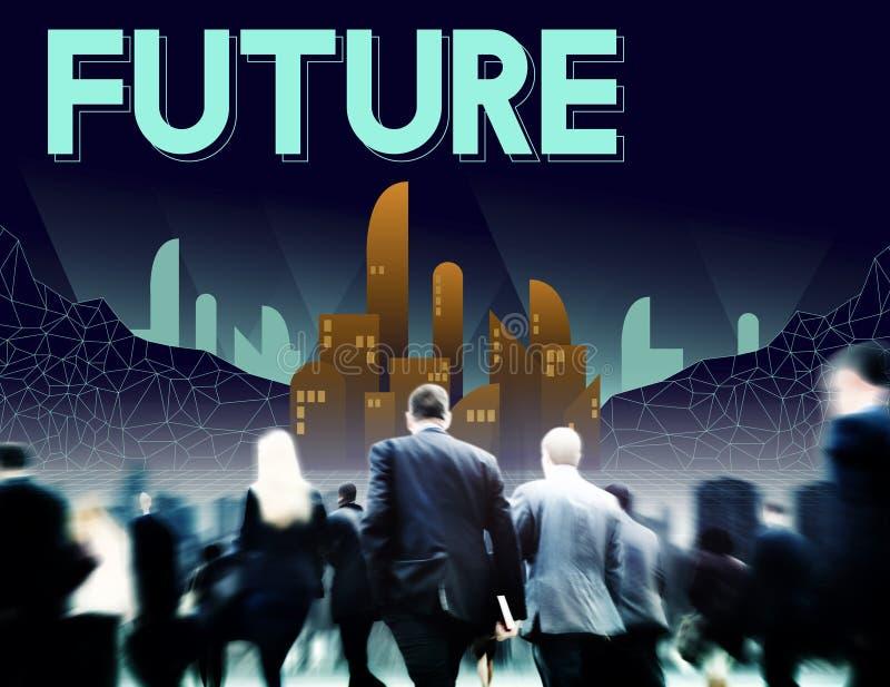 O futuro imagina o conceito da visão do progresso do plano da inovação fotografia de stock royalty free