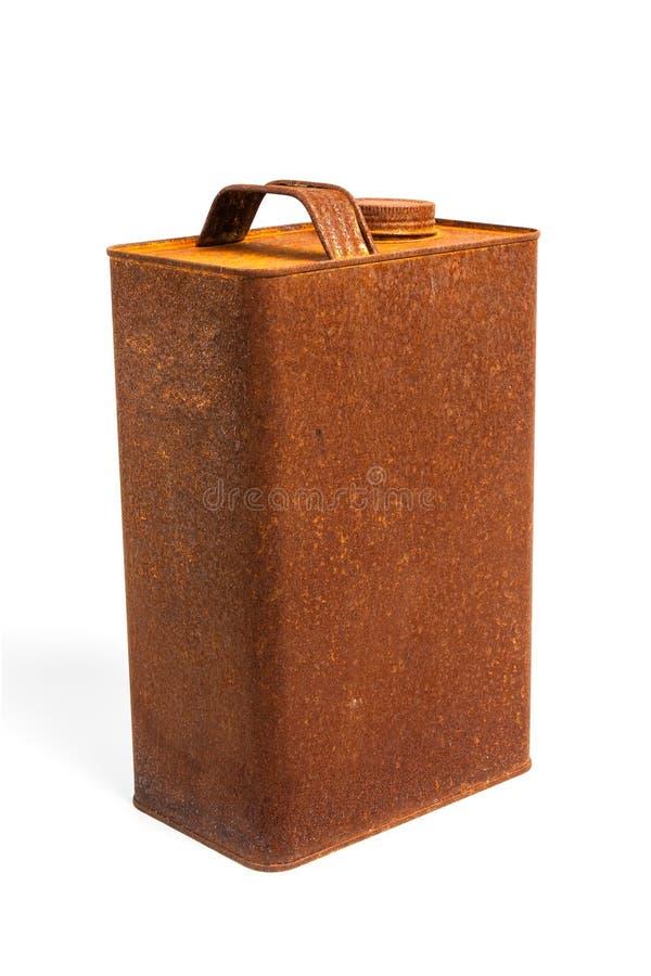 O gás oxidado velho do galão da lata pode com o tampão no fundo branco isolado imagens de stock