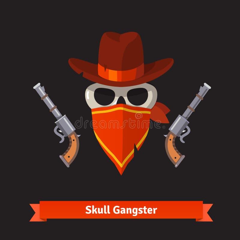 O gângster do crânio no chapéu do stetson com revólver atira ilustração royalty free