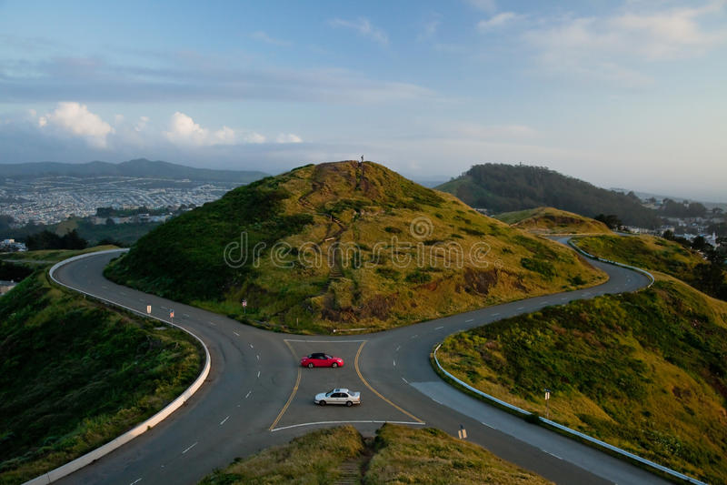 O gêmeo repica o monte, San Francisco. fotografia de stock