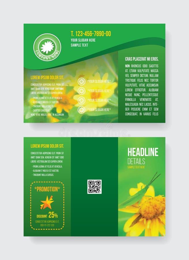 O gafanhoto bilateral do molde verde do folheto de A4 fold3 na flor amarela, o logotipo floral da margarida branca e o programa d ilustração do vetor