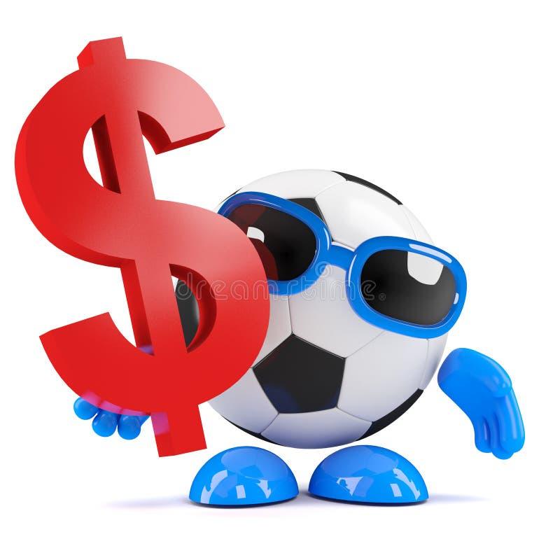 o gajo do futebol 3d tem dólares americanos ilustração royalty free