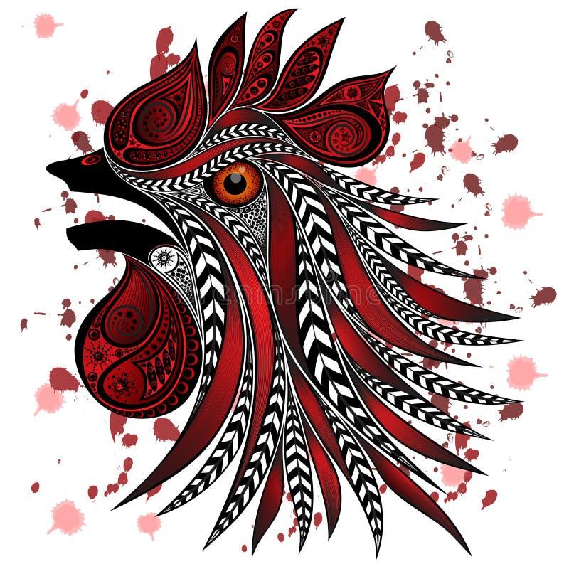O galo gritando com cortes ensanguentados e o sangue chapinham Proteção dos animais das matanças ilustração do vetor