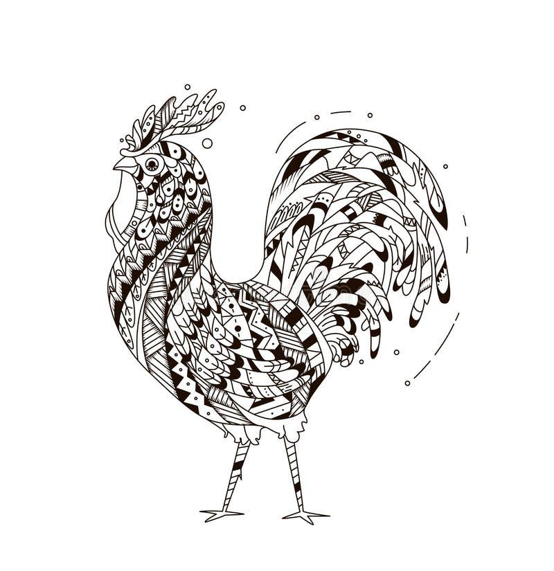 O galo inspirou o estilo do zentangle ilustração royalty free