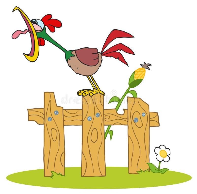 O galo pisou na cerca ilustração stock