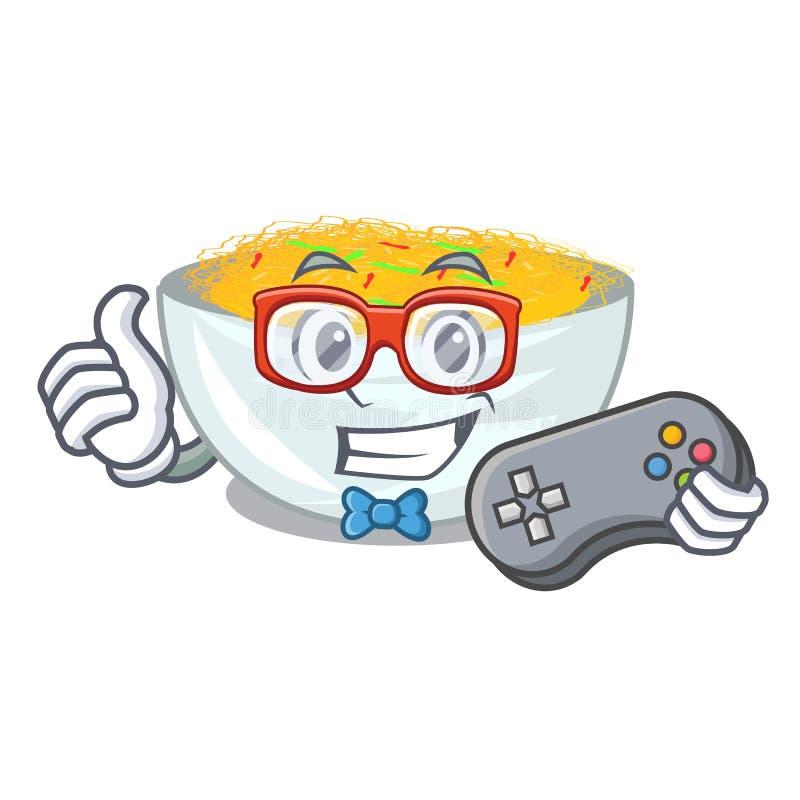 O Gamer fritou os macarronetes servidos na bandeja dos desenhos animados ilustração stock