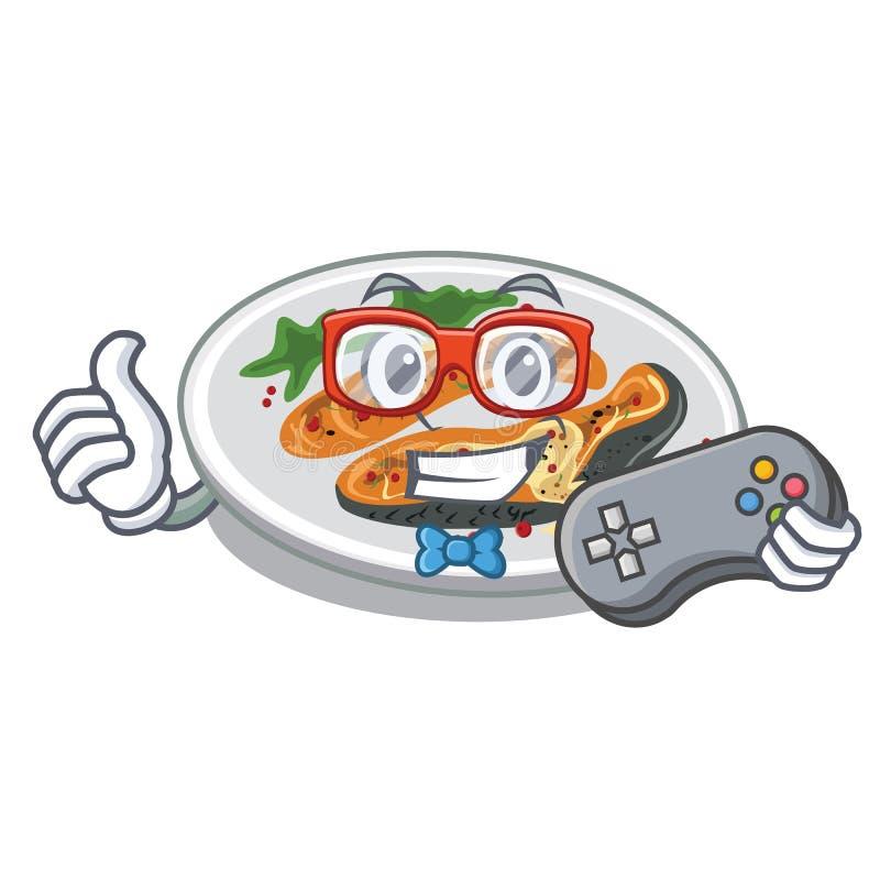 O Gamer grelhou salmões serviu na placa dos desenhos animados ilustração stock
