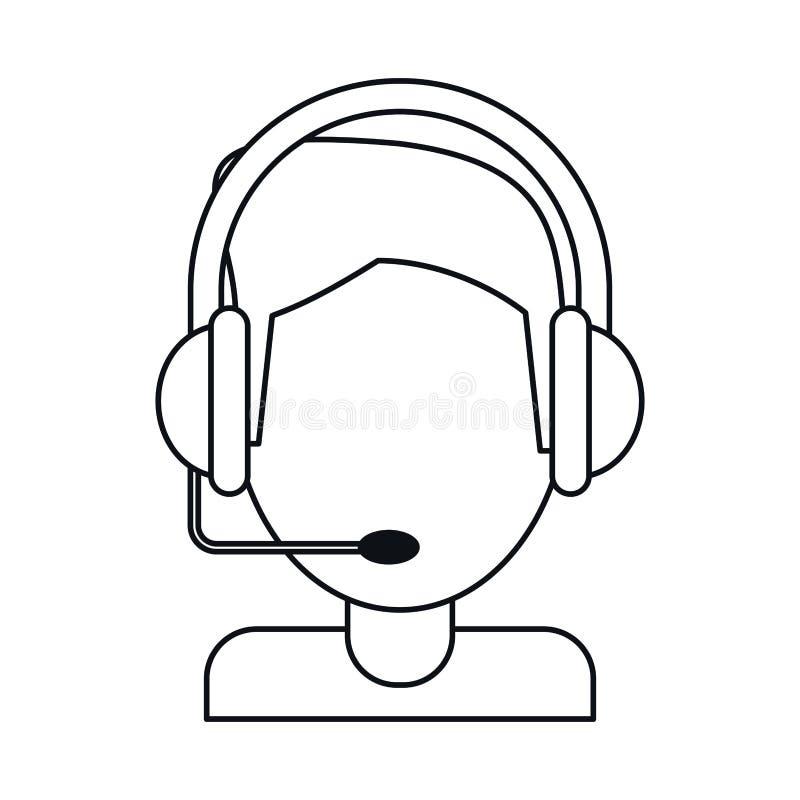 O gamer video com auriculares dilui a linha ilustração do vetor