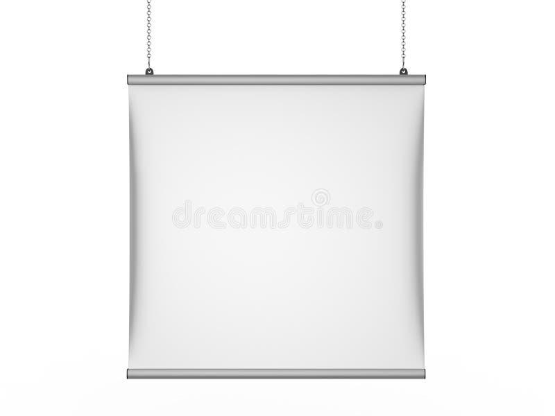 O gancho instantâneo do cartaz da bandeira do teto do aperto do alumínio, cartaz de suspensão cerca o gancho do cartaz 3d rendem  ilustração royalty free