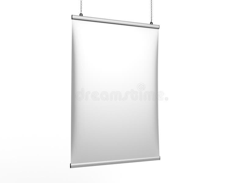 O gancho instantâneo do cartaz da bandeira do teto do aperto do alumínio, cartaz de suspensão cerca o gancho do cartaz 3d rendem  ilustração stock