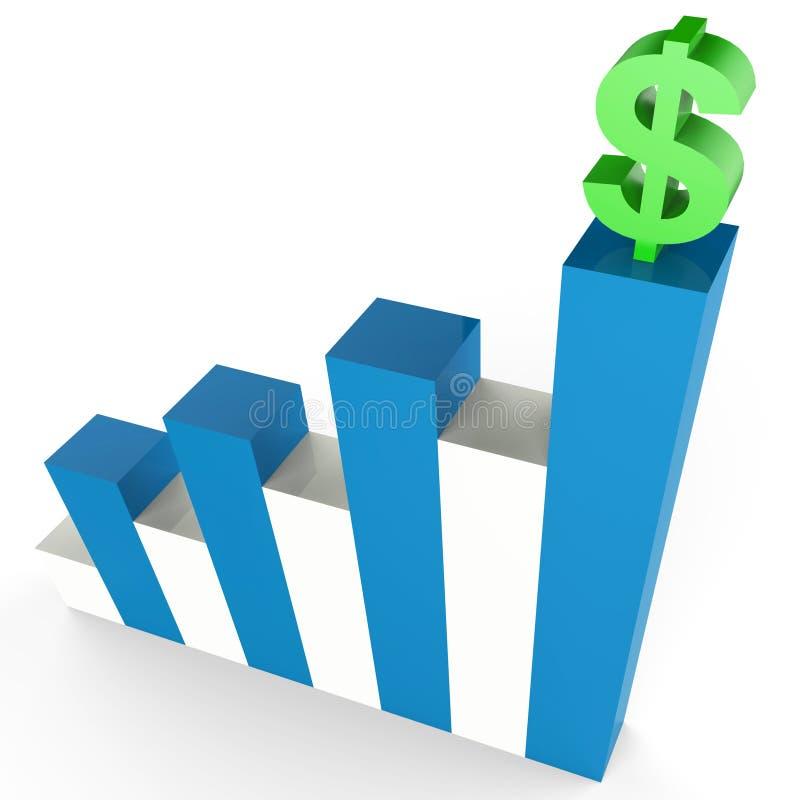 O ganho do dólar indica o gráfico e a operação bancária de negócio ilustração royalty free