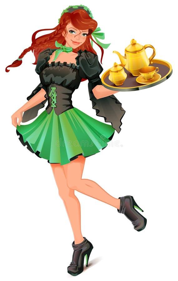 O garçom bonito da mulher leva a bandeja com chá ilustração royalty free