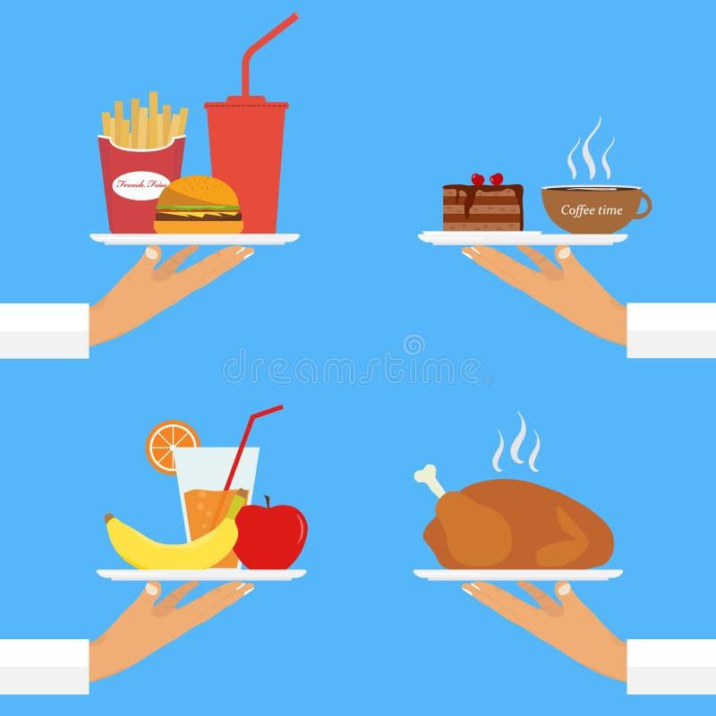 O garçom na bandeja serve o alimento ilustração stock