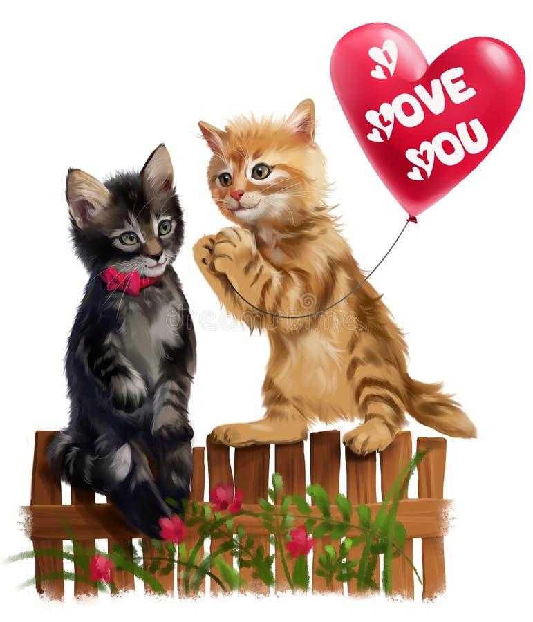 O gatinho vermelho dá o balão do coração ilustração royalty free