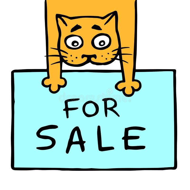 O gato alegre guarda suas patas dianteiras para a venda Ilustração do vetor ilustração royalty free