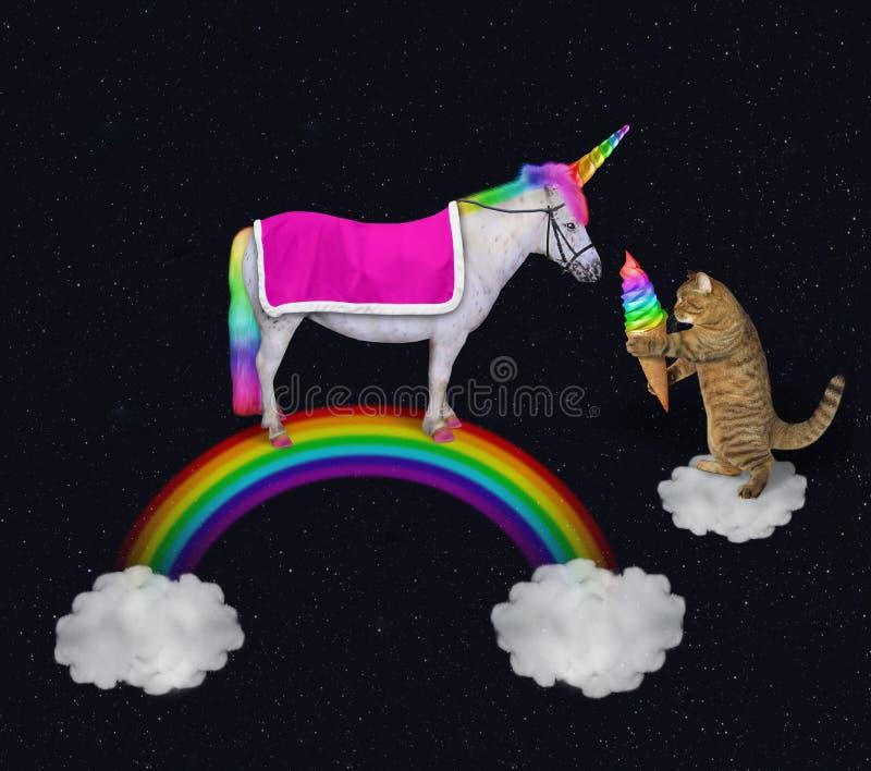 O gato alimenta um unicórnio no arco-íris 2 foto de stock royalty free