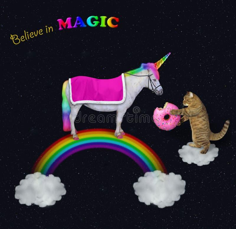 O gato alimenta um unicórnio no arco-íris foto de stock royalty free