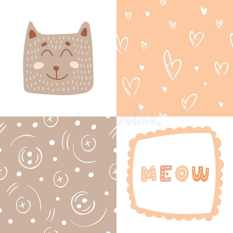 O gato bonito com miado da rotulação para a cópia e dois testes padrões abstratos diferentes para a roupa acolhedor projetam ilustração do vetor