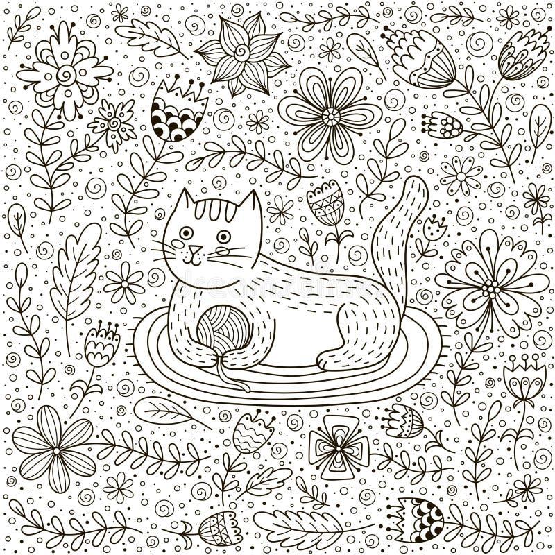 O gato bonito com uma bola do fio e da garatuja floresce ilustração royalty free